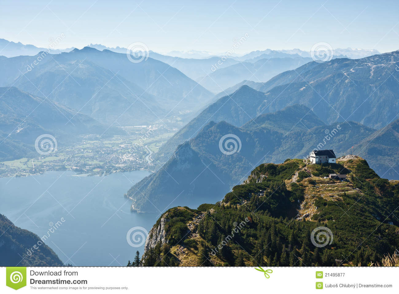 Mountain View With A Lake Traunsee In Austria Royalty Free Stock.