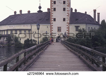 Stock Photo of castle, Austria, Traunsee, Salzkammergut, Ort.