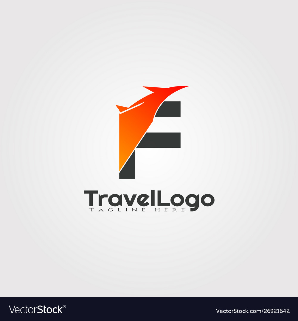Travel agent logo design with initials f letter.