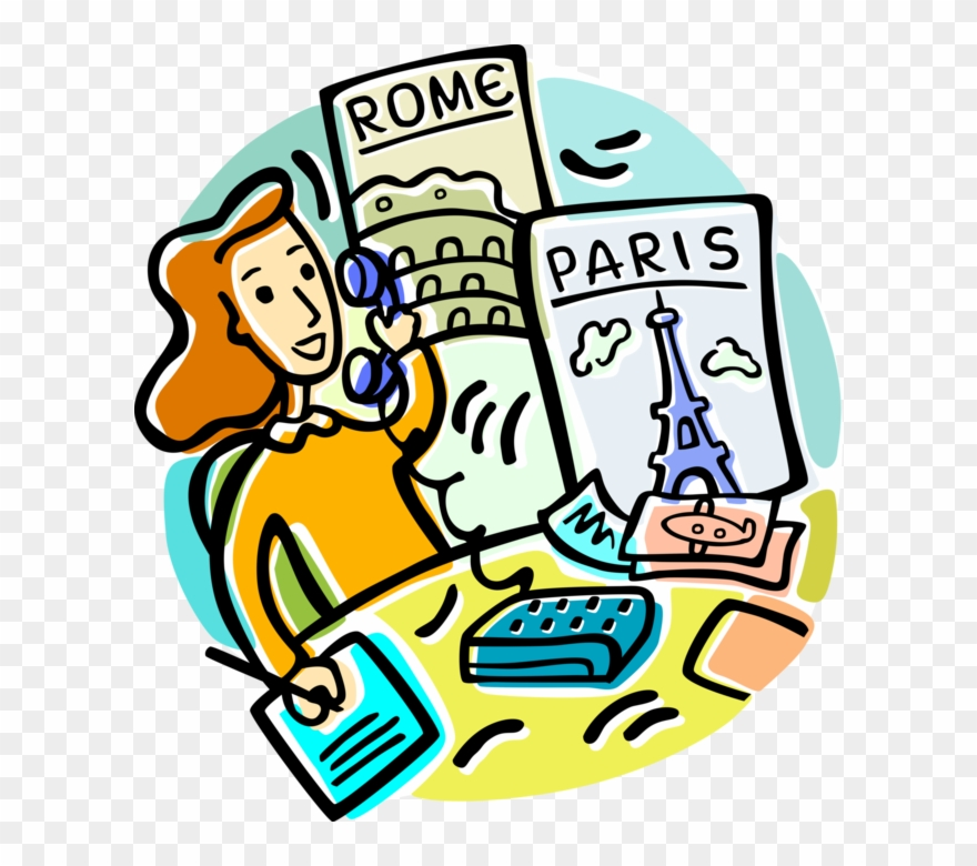 Vector Illustration Of Travel Agent Books Vacations.
