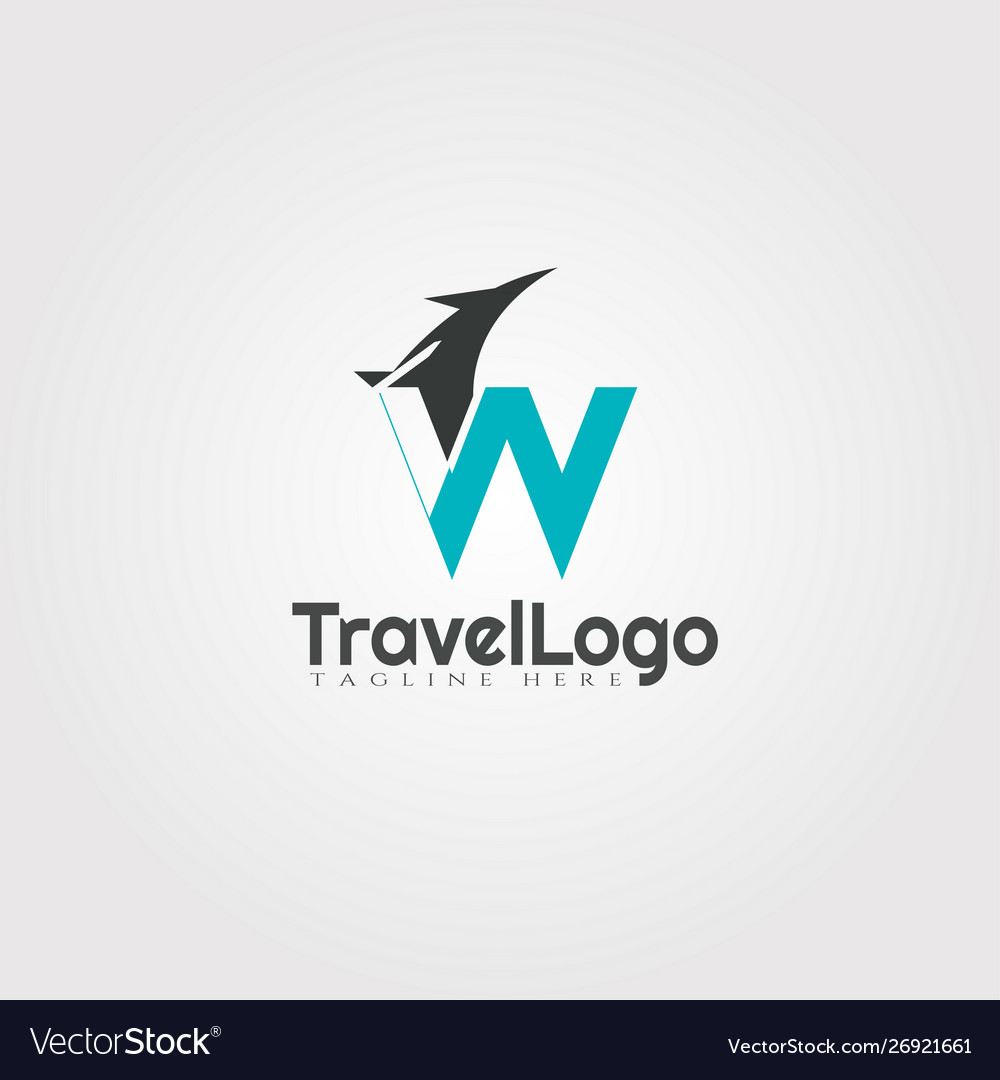 Travel agent logo design with initials w letter.