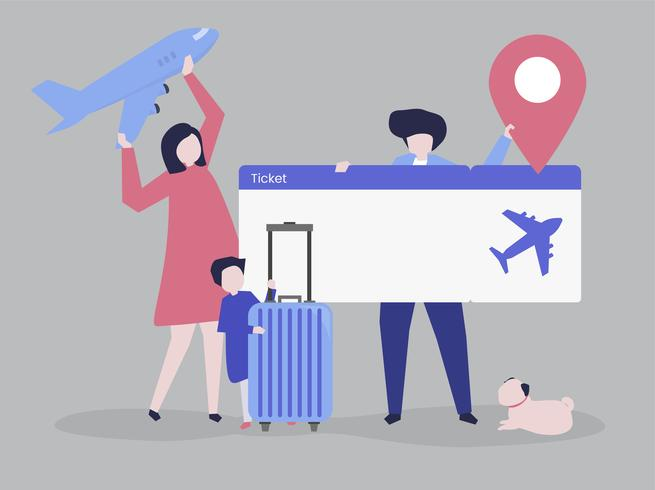 Characters of people holding travel icons illustration.