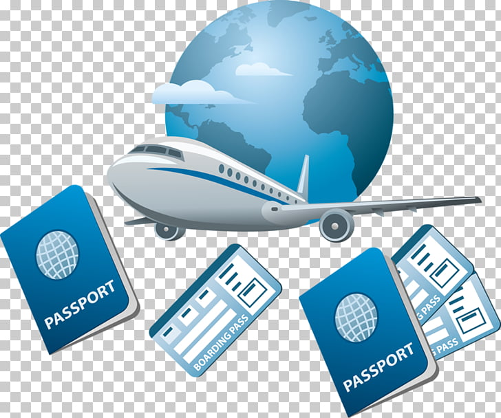 Air travel Flight Airplane Icon, Passport and airplane Earth.