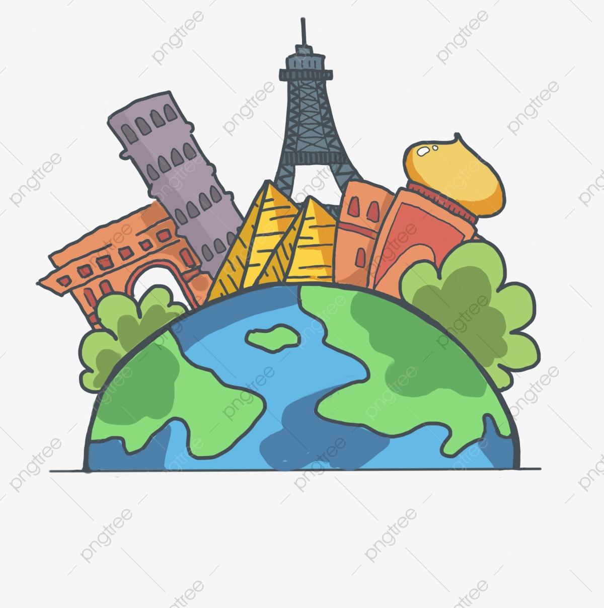 Travel Theme Travel Around The World Cartoon Illustration.