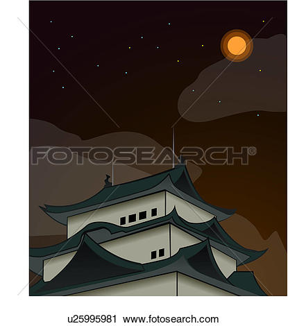 Clipart of edifice, travel, structure, construction, relic, night.