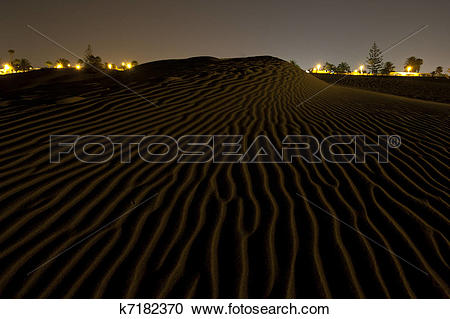 Stock Photography of dunes sand night travel canary islands.