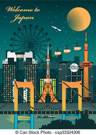 Vector Clipart of fascinating Japan travel poster.