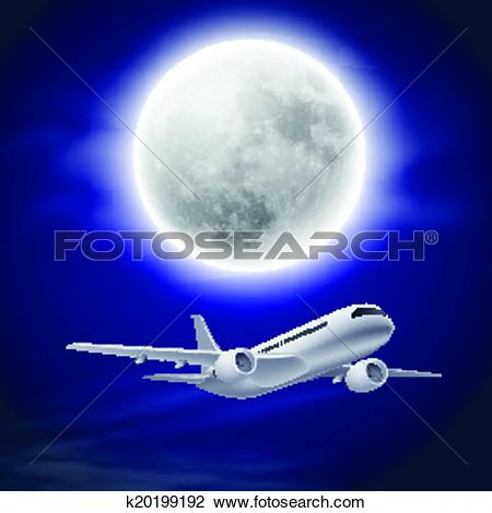 Clipart of Airplane in the night sky with moon. k20199192.