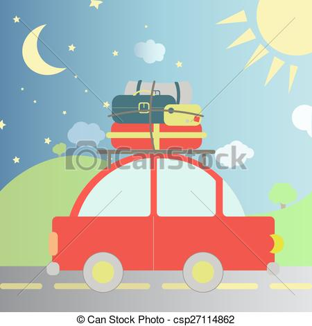 Clip Art Vector of Travel during the day and night.
