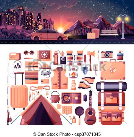 EPS Vector of illustration of night landscape, mountains, sunset.