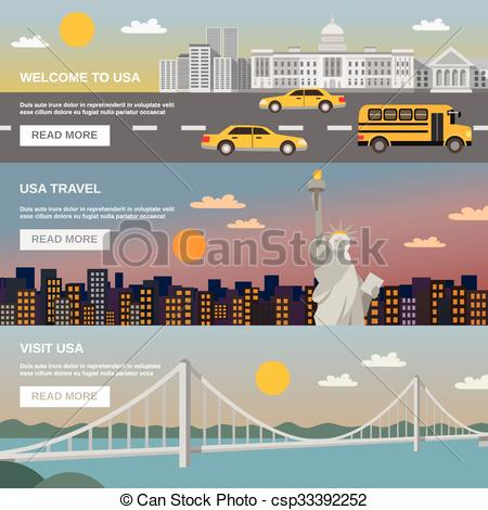 Clipart Vector of Flat Banners Set USA TRavel Information.