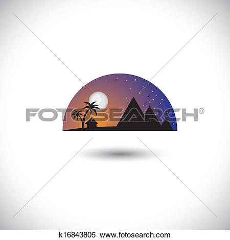Clipart of landscape of a village at night with house, trees.
