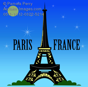 Clip Art Image of a Paris Travel Design of the Eiffel Tower.