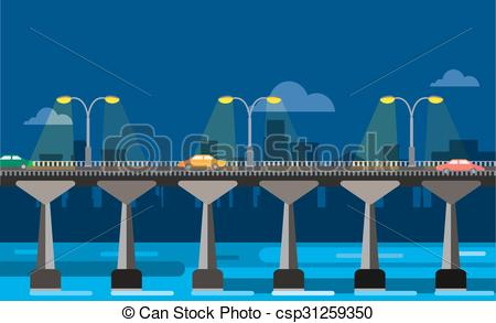 Clipart Vector of Modern bridge illustration city night view.
