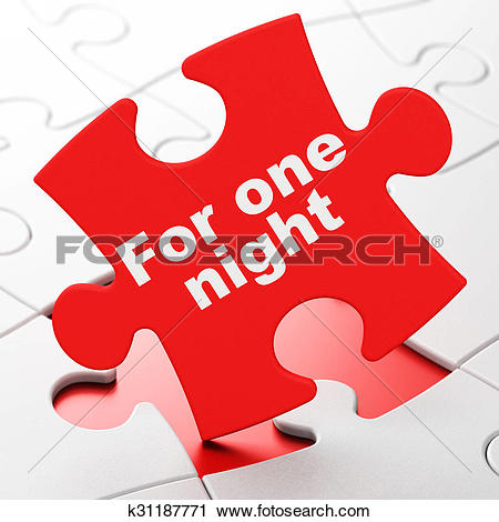 Clipart of Travel concept: For One Night on puzzle background.
