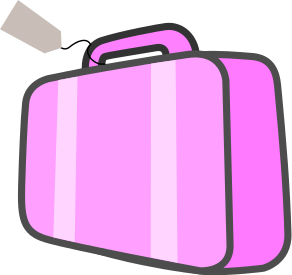 Pink suitcase clipart.