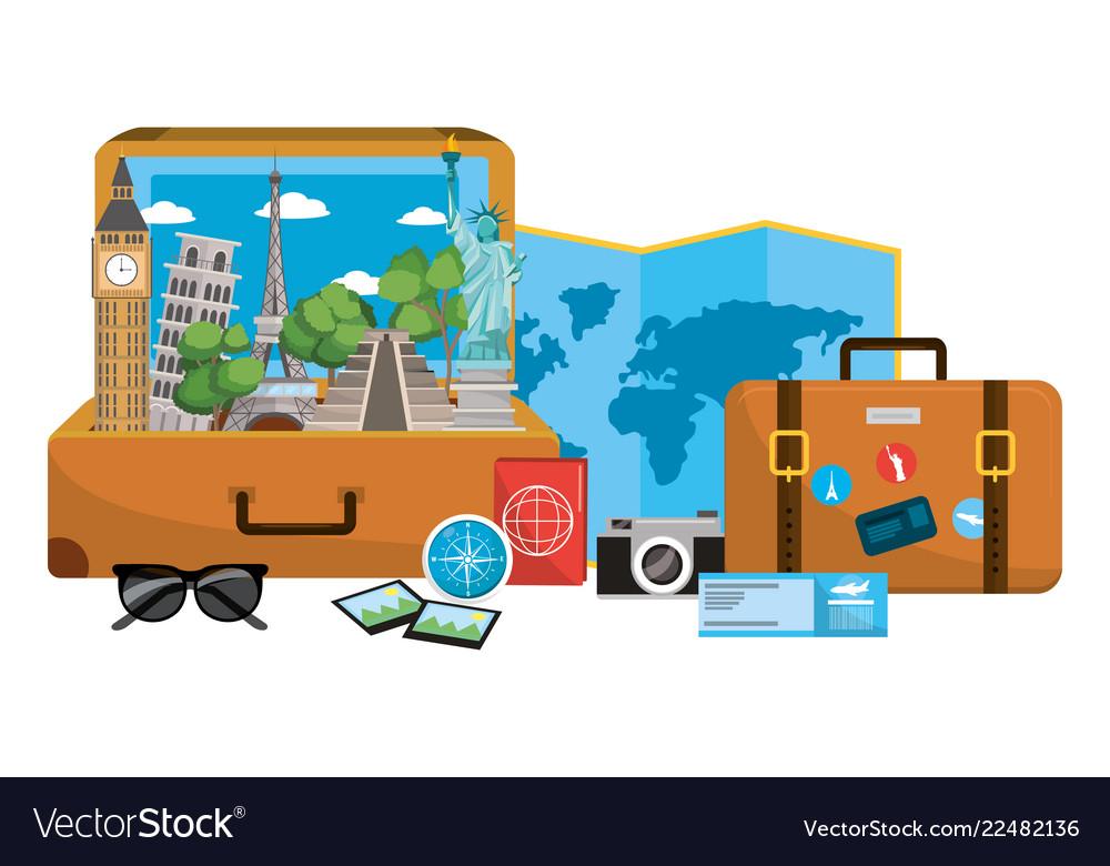Travel luggage cartoon.