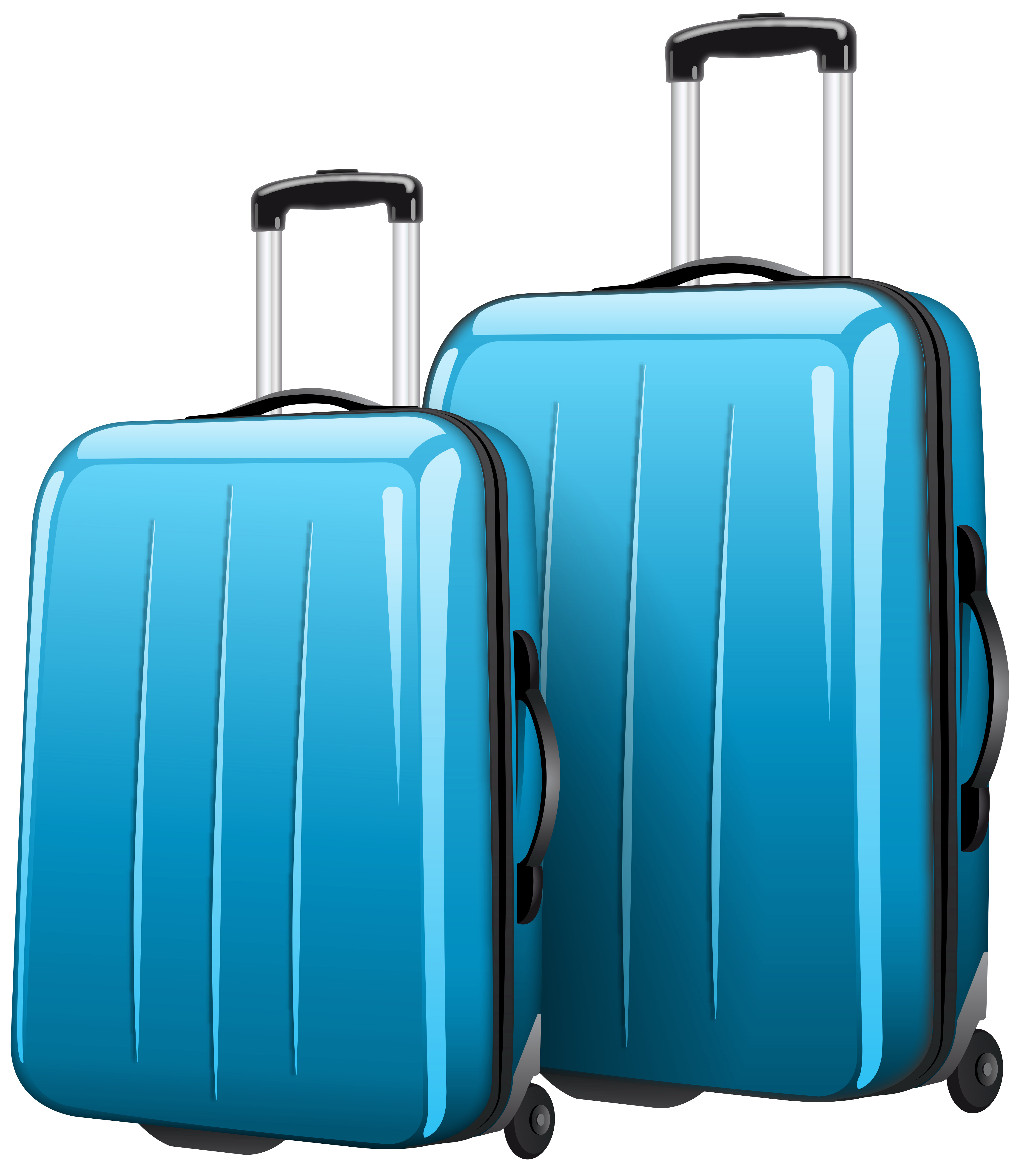 Two Blue Travel Bags PNG Clipart Picture.