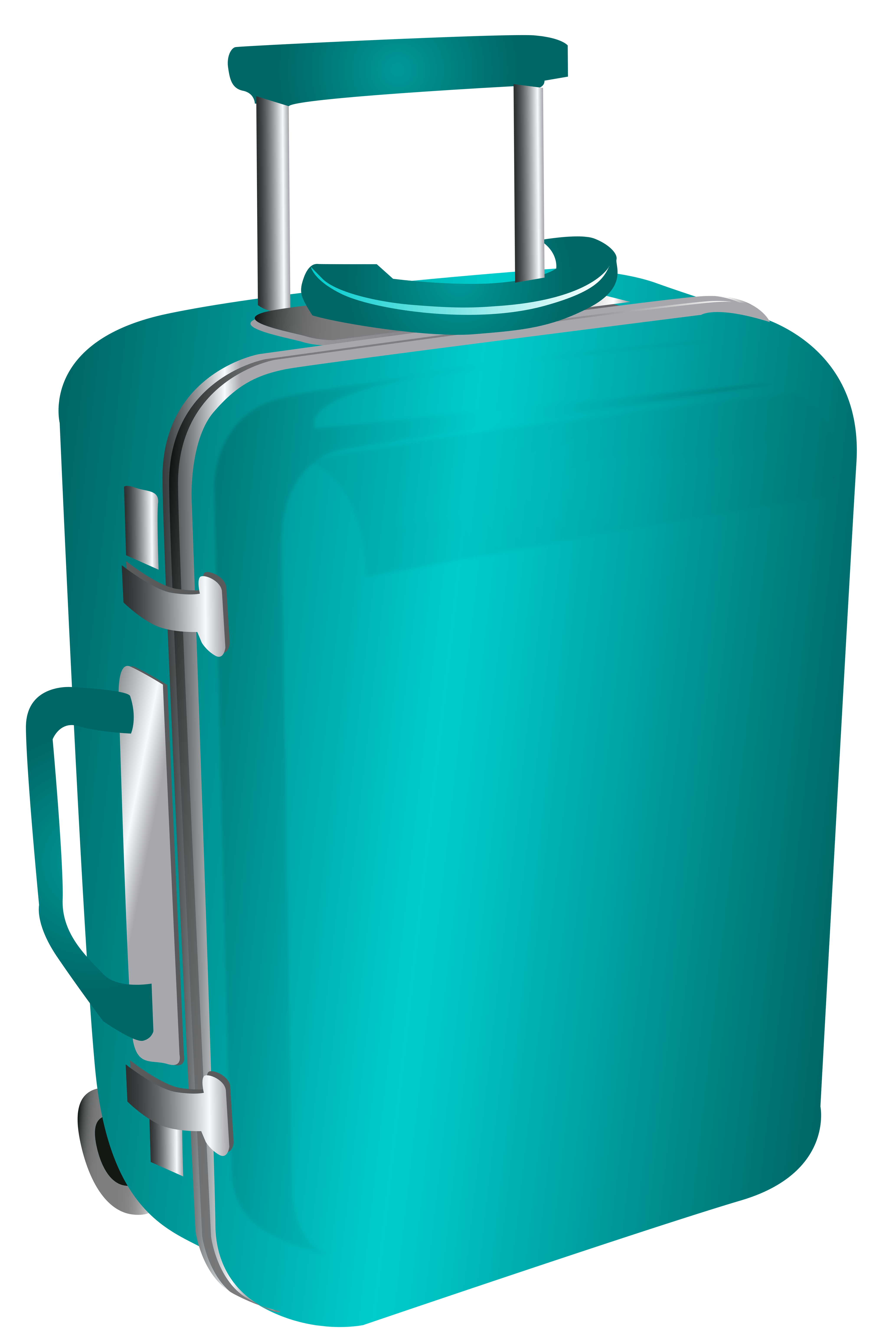 Blue Trolley Travel Bag PNG Clipart Image.