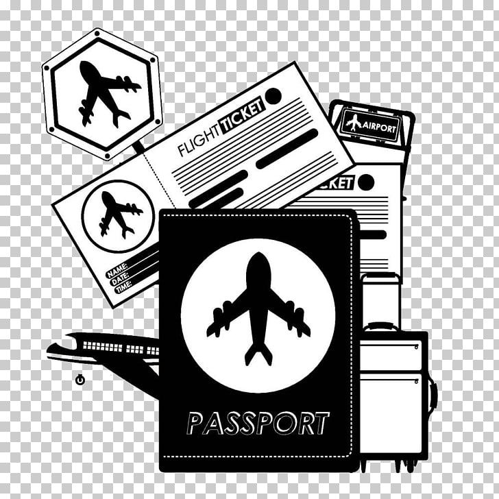 Airplane Passport Travel, Black and white passport file PNG.