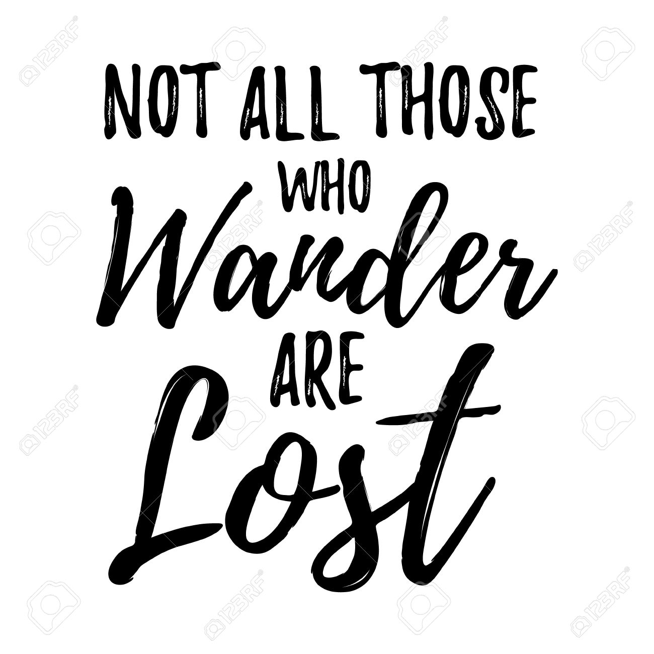 Not All Those Who Wander Are Lost Motivational Lettering Poster.