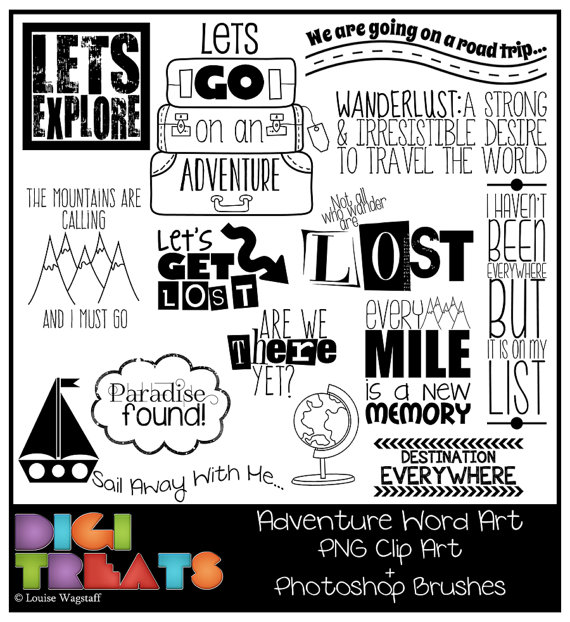 Adventure Word Art (PNG Clip Art) + Photoshop Brush Set, explore.