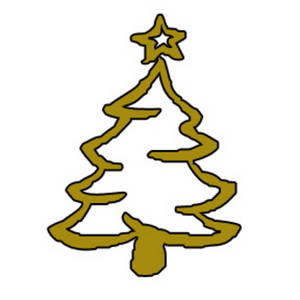 Clipart Picture of a Gold, Outlined, Christmas Tree.