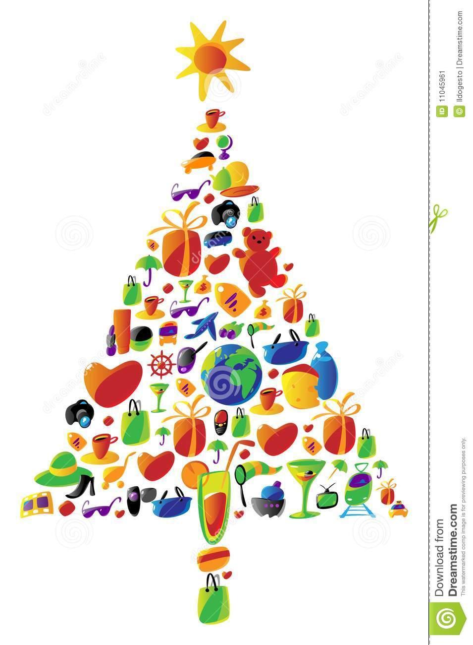 Christmas Tree Made Of Icons Stock Image.