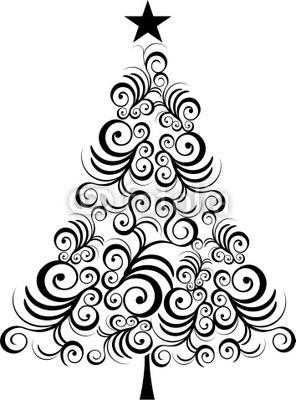 Wall mural christmas tree black outline.