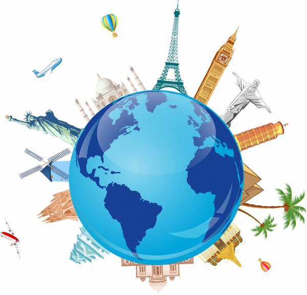 World travel design elements family tourists and symbols Free.