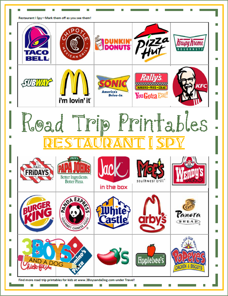 Road Trip Printables for Kids: Restaurant I Spy.