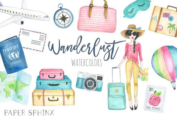 Watercolor Travel Clipart.