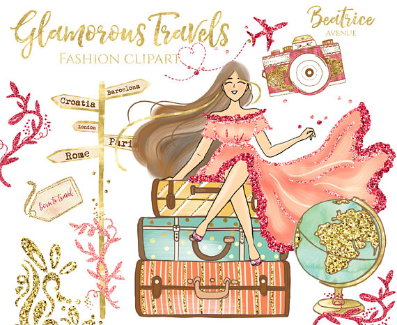 Gold travel clipart Watercolor clipart travel girl clipart.