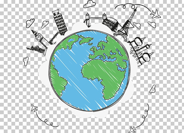 Earth Globe Travel, painted Global Travel, earth and famous.
