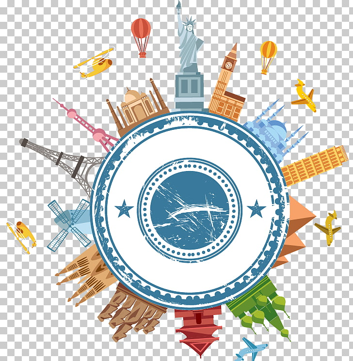 Travel Icon, Global travel elements, landmarks illustration.