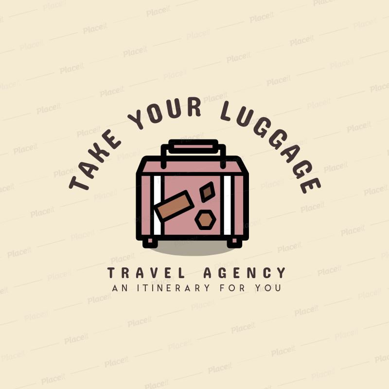Travel Agency Logo Generator Featuring a Suitcase Clipart 1281g 80.
