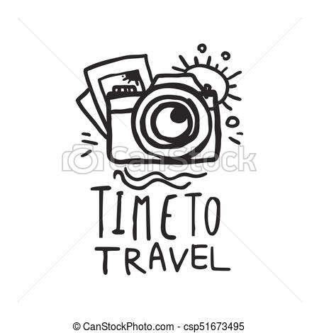 Time to travel logo with pictures and camera.