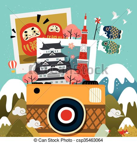Clip Art Vector of Japan travel memories.