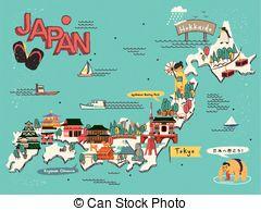 Clip Art Vector of Japan travel memories.