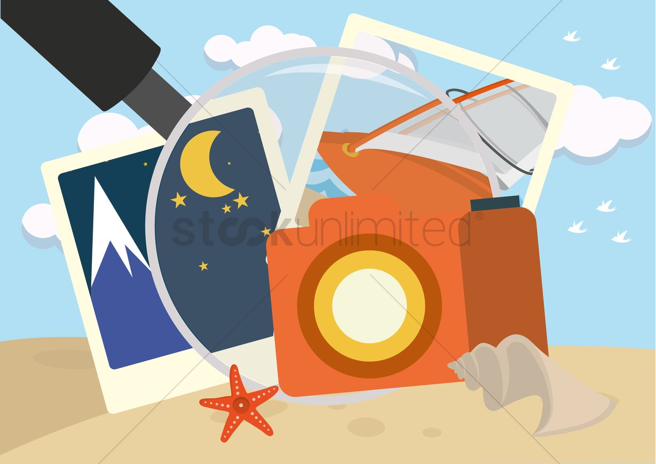 Travel memories with magnifying glass Vector Image.