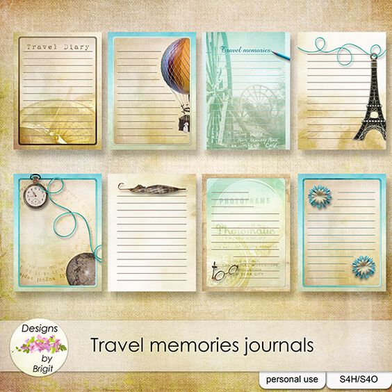 Travel memories Journal cards by Designs by Brigit.