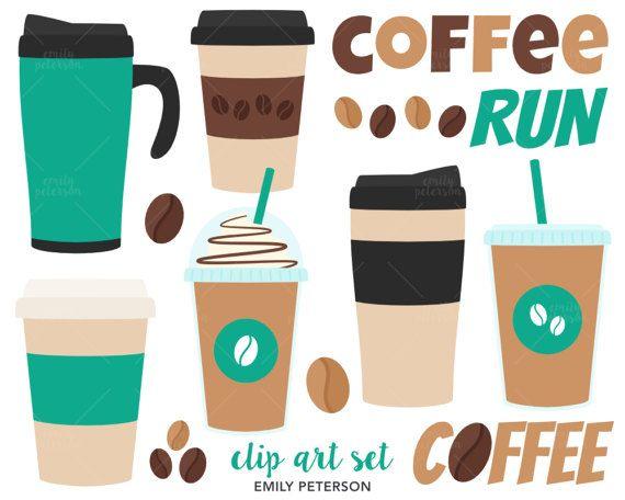 Coffee Clip Art, Travel Mug Clipart, Coffee Addict Clip Art.