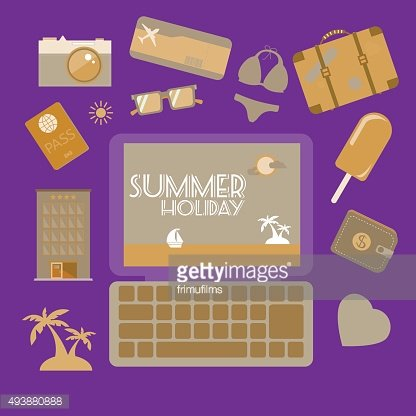 Travel planning summer holiday icon set. Clipart Image.