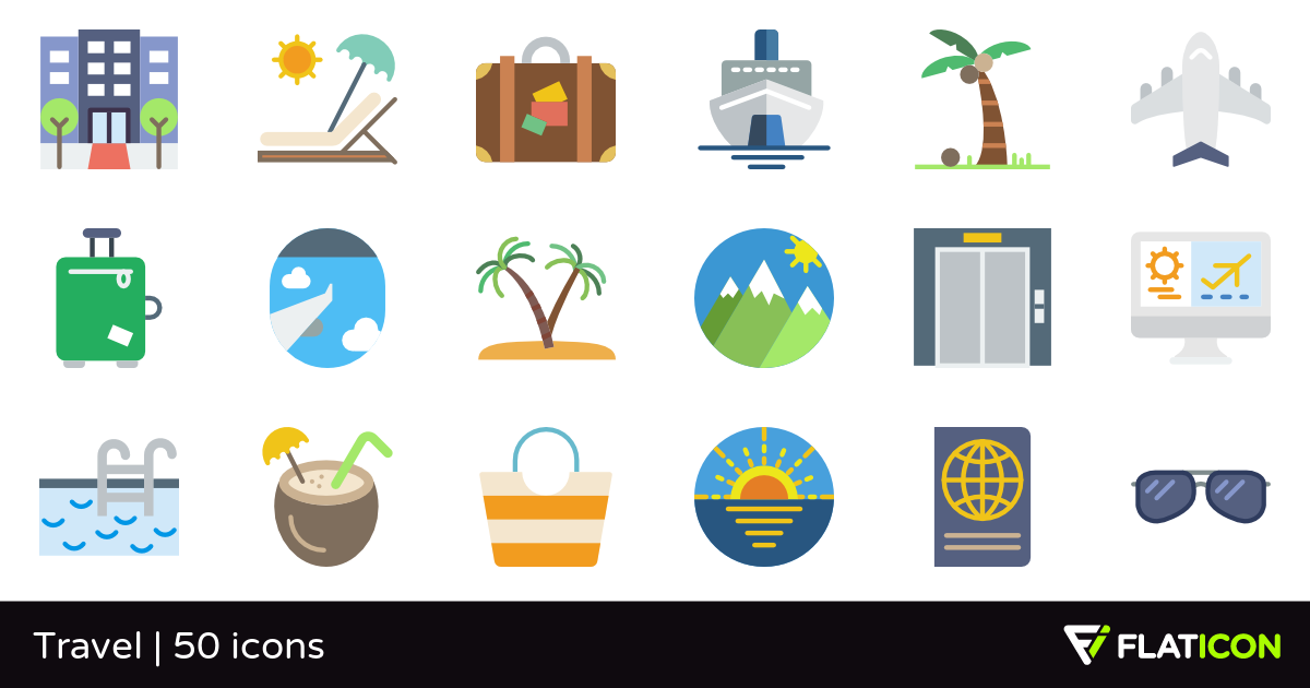 Travel 50 free icons (SVG, EPS, PSD, PNG files).