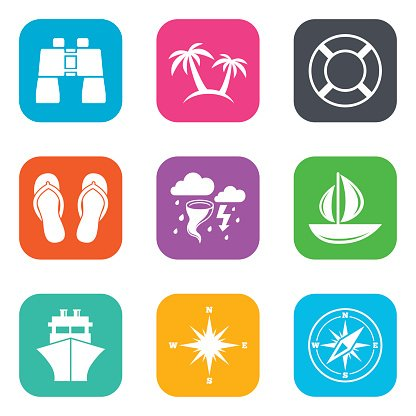 Cruise trip, ship and yacht icons. Travel signs Clipart.