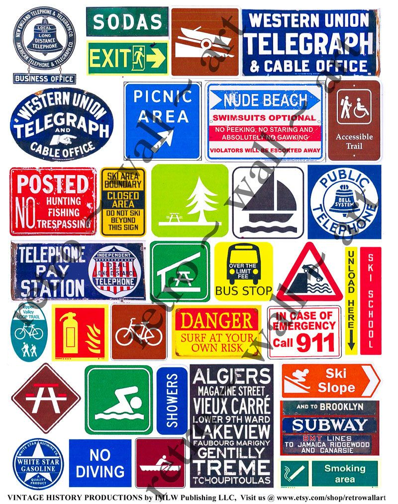 Travel Clip Art, Roadway Signs, Vacation Signs, Telephone.