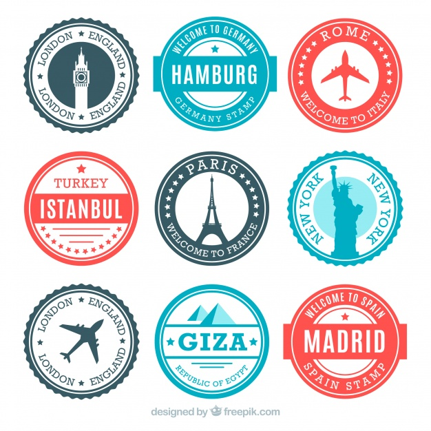 Travel Stamps Vectors, Photos and PSD files.