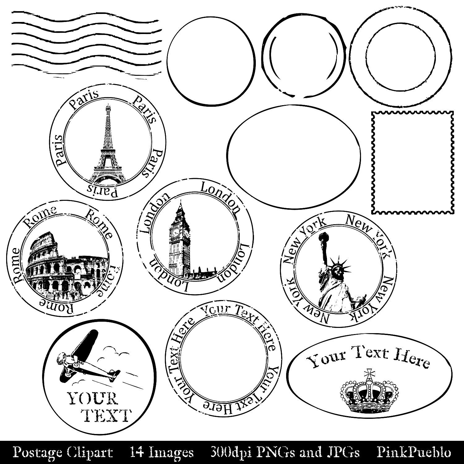 Travel Stamp Clip Art.