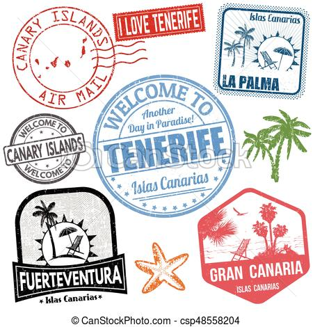 Travel stamps set with Canary Islands.