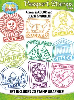Passport Stamps Clipart Set 2 {Zip.